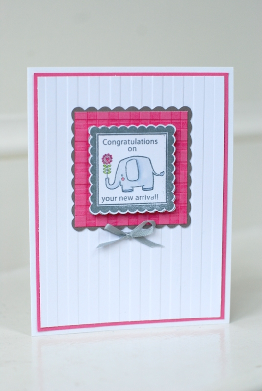 Striped embossing with a basket weave embossing on the pink mat
