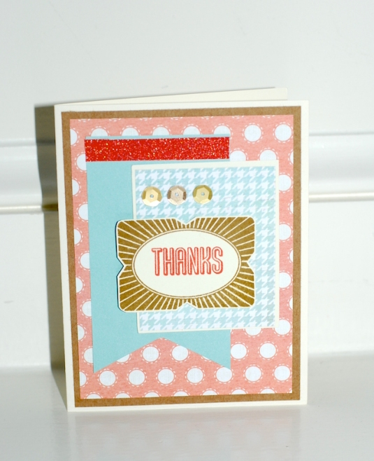 This card showcases the gorgeous Zoe papers as well as the August stamp of the month on the tag